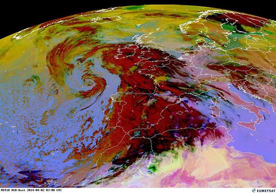 Figure 1 RGB composite Meteosat satellite image taken at 3am GMT Wednesday April 2, 2014 of the dust storm over western Europe. Image credit: EUMETSAT